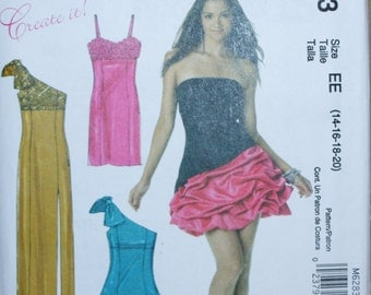 McCalls M6283 Misses Formal Dress Sewing Pattern New/Uncut Size 14, 16, 18, 20