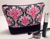 Makeup Bag, Cosmetic Case, Make Up Case, Bridesmaid Gift, Travel Bag in Pink and Black Damask Fabric