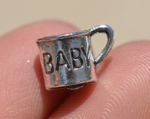 BULK 20 Silver Baby Cup Charms SC1172