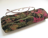 Black Velvet Glass Pouch Embroidered Green and Pink One of a Kind