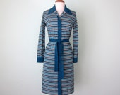 70s dress / wool teal striped belted long sleeve (s - m)