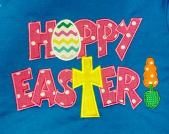 Hoppy Easter Bunny Girls Custom Personalized Shirt