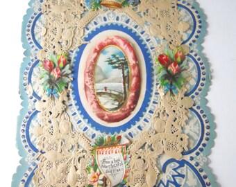 VALENTINES CARD 1920s VINTAGE- die cut paper lace, blue