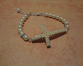 Pearl Cross Bracelet Sideways Cross Bracelet Silver Cross Bracelet Pave Ivory Pearl Cross