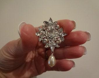 Rhinestone Brooch-Crystal Brooch-Vintage Style Brooch-Perfect For Bridal Wedding Bridal Sash