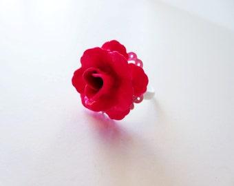Neon pink ring.  Rose ring.  Metal flower ring.  White filigree ring.