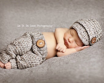 Newborn Grey Visor Beanie and Pants, 0 to 3 month Gray photo prop Hat and Baby Pants