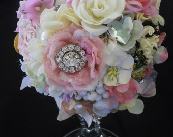 Pastel floral bouquet, floral wedding cake topper, flowers and jewels bouquet