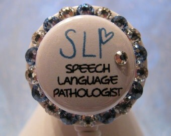 Speech Language Pathologist, Bling,  ID Badge Holder, Retractable Badge Holders using Swarovski Elements SLP