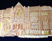 Texas MD's Old Red. Oldest medical school building in USA   Handmade with dried leaves of rice plant  Ancient leaf art collectible art