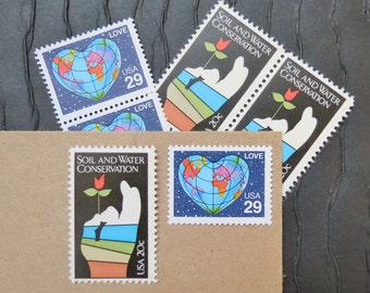 Planet .. LOVE .. Vintage UNused Postage Stamps .. to post 5 letters