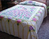 Excellent very plush peacock chenille bedspread-yellow background fits double or queen