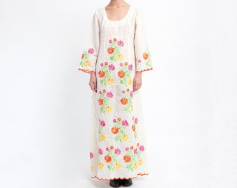 The Boho Floral 70s Embroidered Dress