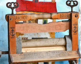 ANTIQUE Anchor laundry wringer...    home decor...  display...  metal and wood...   L