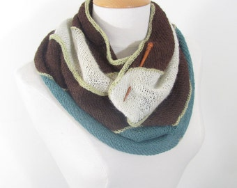 Hand Knit Cowl Scarf with Chevron Zig Zag in Chocolate Brown, Winter White, Turquoise Teal and Chartreuse Lime Green