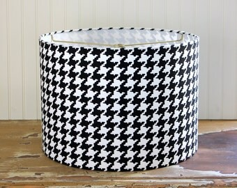 Drum Lamp Shade Lampshade Pendant Black and White Houndstooth Made to Order