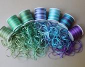 Mermaid Mix - 21 metres of 2mm variegated silk ribbon