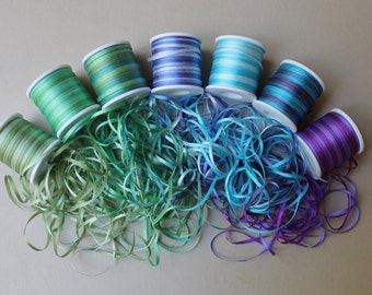 Mermaid Mix - 21 metres of 2mm variegated silk ribbon