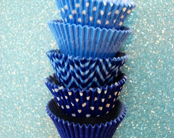 ASSORTED Light Blue and Blue Cupcake Liners Standard Size 50 per pack