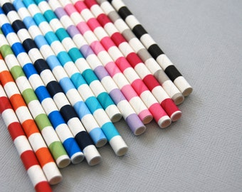 Assorted Rugby Striped Paper Straws and PDF Printable Party Flags
