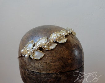 Golden Bridal tiara headband Greek goddess leaves leaf autumn bride silver bridal halo wreath - AUTUMN