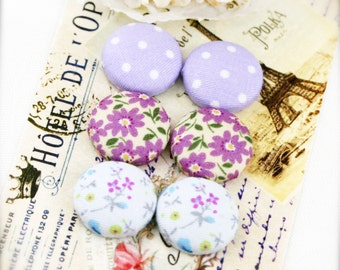 "Lilac blossom - fabric covered button ear studs, set of 3 -  3/4"", 19mm (BS)"