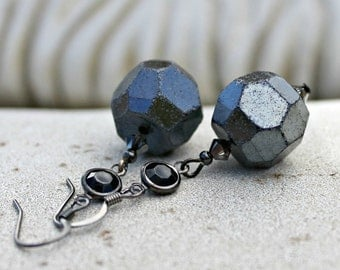 Metallic Black Dangle Earrings, Vintage Jewel, Bohemian Czech Glass, Dark Grey, Slate, Charcoal