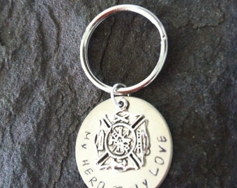 Fire fighters wife Maltese keychain my hero