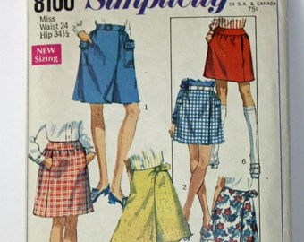 """Vintage 1960s, Sewing Pattern, Simplicity 8100, Skirts in Two Lengths, Misses' Size Waist 24"""", Hip 34 1/2"""""""