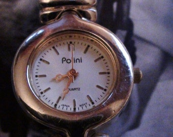 VINTAGE  Ladies POLINI Quartz Wrist Watch Runs GREAT Women Watch Silver Tone Bracelet