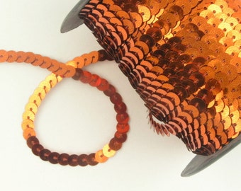 One (1) Yard of Orange 8mm Sequins  -- Buy 5 yds get 1 yd free