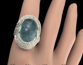 Platinum Diamond Natural Blue Aquamarine Ring Art Deco Jewelry Great Gatsby