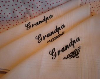 White Cotton  Hankies .SALE.set of 3 embroidered Custom. Husband.Grampa. Father Wedding
