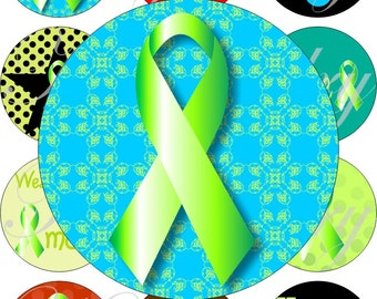 Glaucoma Awareness images large circles for pocket mirrors and more digital collage sheet No.1297