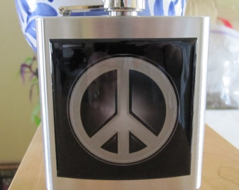 Peace Sign Symbol Liquor Hip Flask Stainless Steel Hippie Flask