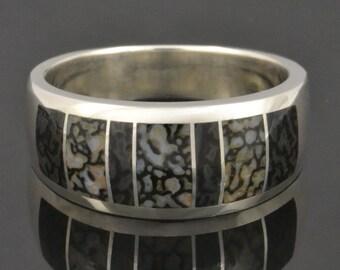 Men's Dinosaur Bone Ring with Gray Bone In Sterling Silver, Dinosaur Bone Wedding Band, Gray Dinosaur Bone Ring for Men