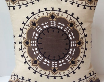 Suzani Pillow Decorative Throw Pillow Cover Cushion Accent 18 or 20 Inch Brown Pillow