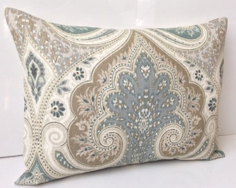 Pillow Cover Lumbar Pillow Decorative Throw Pillow Accent Pillow Cushion Damask Pillow Seafoam Kravet Toss Pillow