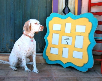 """Picture frame Twin Stacked Whimsical Multi 9 opening for a mix of 5x7's and 4x6 Multiple Collage """"Baby's first Year"""" Storyboard"""