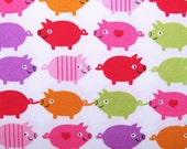2374A -- Cute Colored Pigs, Kawaii Retro Pigs, Lovely Heart Pigs, White Color, Twill Fabric