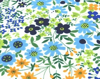 2380A - Clearance - 135 cms x 148 cms - Summer Flower blossom Fabric - Cotton Twill Fabric, Blue Combo
