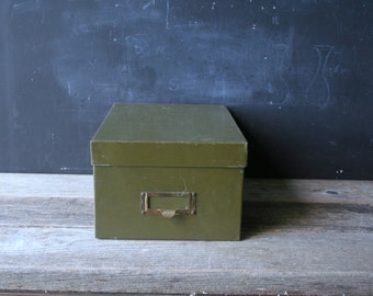 Vintage File Box Army Green With Lid Industrial Rustic Home Office Decor From Nowvintage on Etsy
