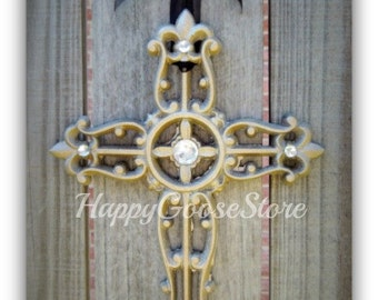 Wall Cross - Iron & Rhinestones - CHAMPAGNE (or your choice of color)