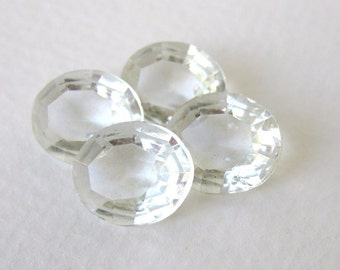 Vintage Rhinestone Glass Jewel Clear Crystal Oval Transparent Unfoiled 12x10mm rhs0447 (4)