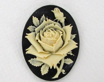 Vintage Flower Cabochon Cameo Ivory Rose Black Resin 40x30mm pcb0292 (1)