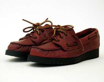 NOS Oxblood Leather Top Siders Boat Shoes 6