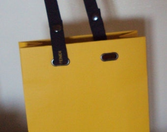 Fendi Shopping Bag Ribbon Handle Gold w Logo Gift Vintage Centerpiece Designer Italy yellow