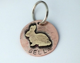 Custom Pet ID Tag- Bella Mixed Metal Dog Tag, Rabbit, Bunny