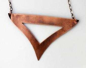 Copper Necklace, Cutout Triangle