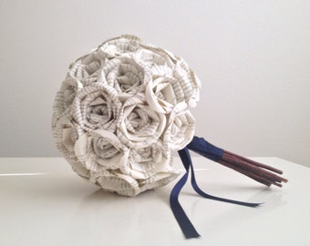Navy Blue Themed Book Page Bouquet
